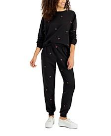 Juniors' Embroidered Cherries Sweatshirt & Sweatpants