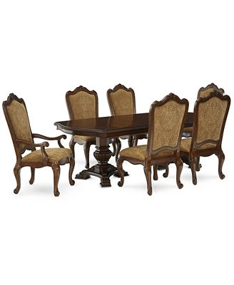 lakewood 7-piece dining room furniture set, (double pedestal
