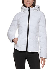 Petite Curved-Hem Hooded Packable Puffer Coat, Created for Macy's