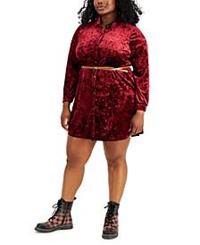 Trendy Plus Size Crushed Velvet Shirtdress