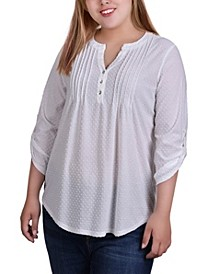 Plus Size 3/4 Tab Sleeve Y-Neck Blouse