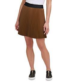 Pleated Faux-Leather Mini Skirt