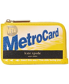 NY On A Roll Leather Metro Card Zip Cardholder
