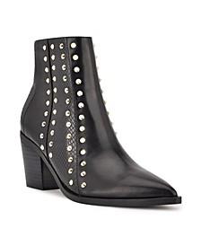 Women's What Studded Block Heel Booties