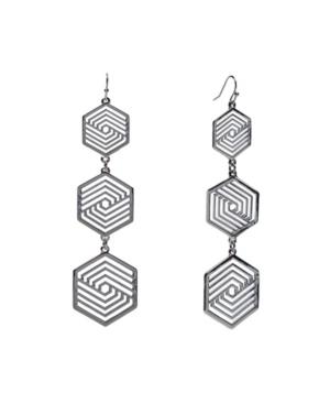 Silver-Tone Cut Out 3 Drop Earrings