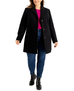 Trendy Plus Size Single-Breasted Reefer Coat