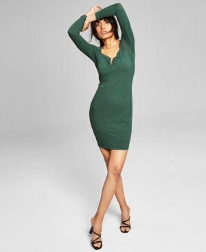 Women's Notched Ribbed Bodycon Dress