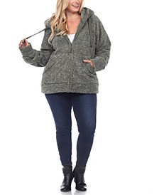 Plus Size Hooded Sherpa Jacket