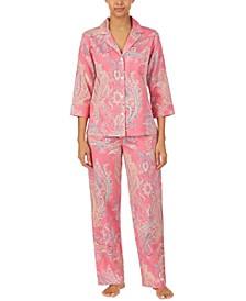 Women's Classic Woven Sateen 3/4 Sleeve Pajama Set, 2 piece