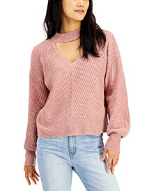 Juniors' Mossy Choker Sweater
