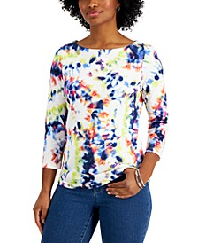 Petite Cotton Tie-Dyed Top, Created for Macy's