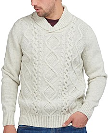 Men's Shawl Collar Cable Knit Sweater