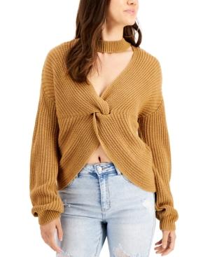 Juniors' Gigi Mock Neck Twisted Sweater