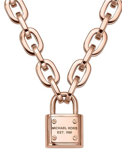 67dce50bd81d8 Michael Kors Chain and Padlock Pendant Necklace   Reviews ...