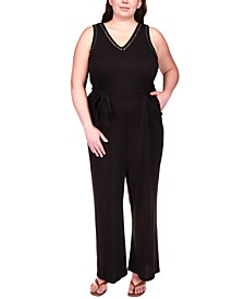 Plus Size Studded Belted Jumpsuit