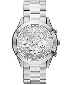 Men's Slim Runway Chronograph Silver-Tone Stainless Steel Bracelet Watch 44mm