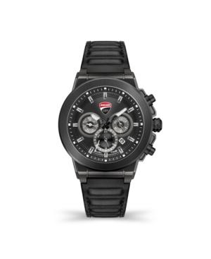 Men's Campione Multifunction Black Genuine Leather Strap Watch 45mm