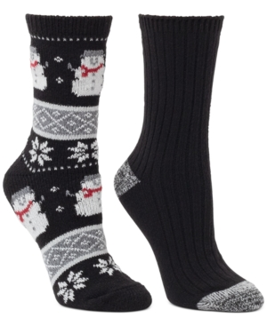 2-Pk. Snowman Fair Isle & Ribbed Crew Boot Socks