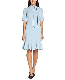 Crepe Bow-Neck Dress