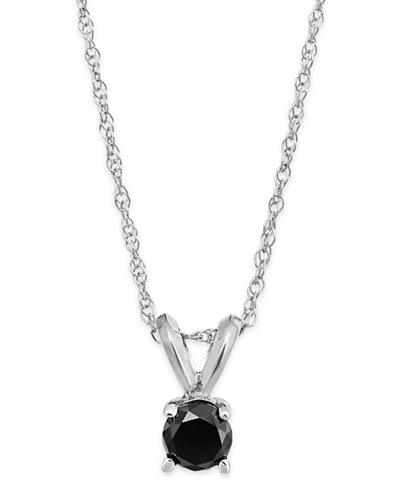 Black Diamond Round Pendant Necklace in 10k White Gold (1/6 ct. t.w.)
