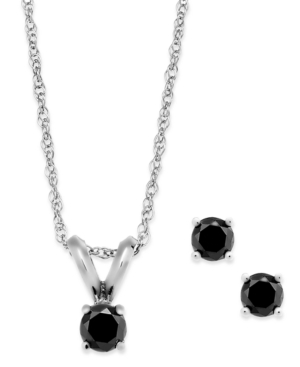 Black Diamond Jewelry Set in 10k White
