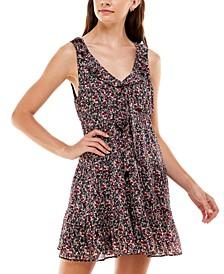 Juniors' Floral-Print A-Line Dress