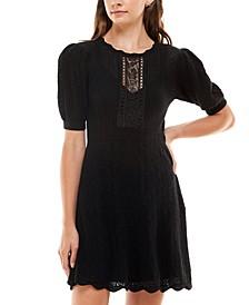 Juniors' Puff-Sleeve Lace Dress