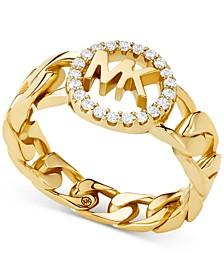 Pavé Logo Link Ring