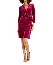 Velvet Wrap Sheath Dress
