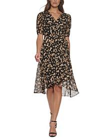 Petite Floral-Print Chiffon Midi Dress