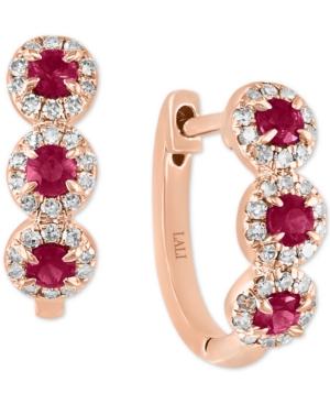 Ruby (1/3 ct. t.w.) & Diamond (1/5 ct. t.w.) Halo Leverback Hoop Earrings in 14k Rose Gold