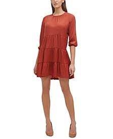 3/4-Sleeve Tiered Shift Dress