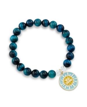 Dreamy Tiger's Eye Gemstone with a Enamel Hello Sunshine Charm Bracelet