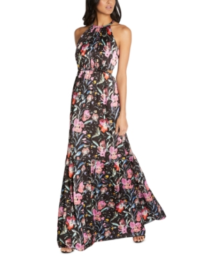 Floral-Print Tiered Halter Maxi Dress