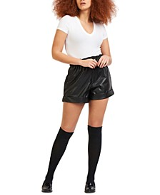Petite Faux-Leather Shorts