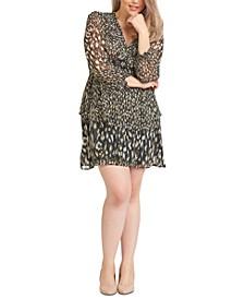 Plus Size Printed Chiffon Flounce Dress