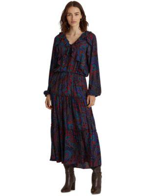 로렌 랄프로렌 Lauren Ralph Lauren Paisley Print A-Line Dress,Lauren Navy Multi