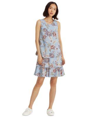 로렌 랄프로렌 Lauren Ralph Lauren Floral Crepe Shift Dress,Light Blue/garnet/multi