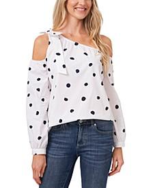 Polka Dot Asymmetric Cold-Shoulder Top