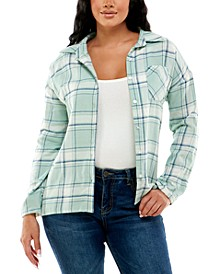 Juniors' Plaid Sherpa Lined Flannel Shacket