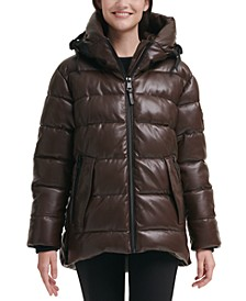 Faux-Leather Hooded Puffer Coat
