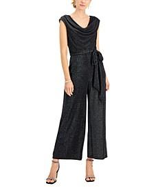 Petite Metallic Belted Jumpsuit