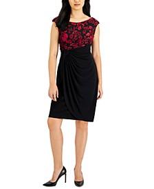 Petite Embellished Faux-Wrap Dress