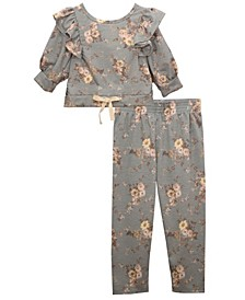 Baby Girls Pinafore Ruffled Top and Printed Legging Outfit, 2 Piece Set