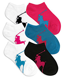 Polo Ralph Lauren Little Girls & Big Girls 6-Pack Big Pony No-Show Socks