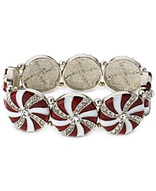 Silver-Tone Crystal Peppermint Statement Stretch Bracelet, Created for Macy's