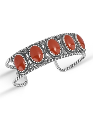 Jasper Gemstone 5-Stone Cuff Bracelet
