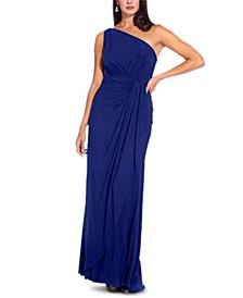 One-Shoulder Side-Drape Cascade Matte Jersey Gown