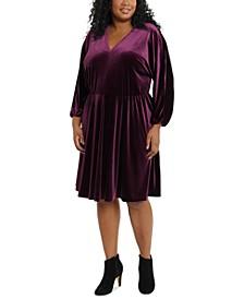 Plus Size Velvet Fit & Flare Dress