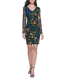Printed Lace Sheath Dress